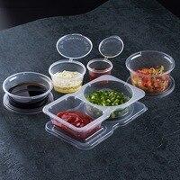 80/100x 투명 플라스틱 일회용 소스 컵 테이크 아웃 식품 저장 용기 토마토 소스 샐러드 chutney 상자 뚜껑