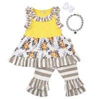 Mädchen Gelb Outfits Ärmelloses Bib Top Doppel Grau Gestreiften Rüsche Capris Boutique Kinder Kintted Baumwolle Sommer Kleidung Sets