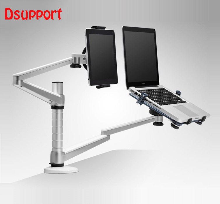 Free Shipping Dsupport Full Motion Dual Arm 10-15 inch Laptop Holder + 7-10 inch Tablet PC Stand Rotate Holder Desktop Stand