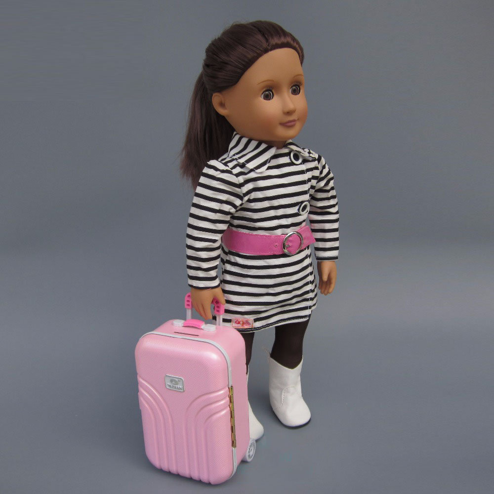 Doll clothes fits 45cm American girl Fashion Black and white striped coat pink wool coat doll clothes with belt for 18 american girl doll