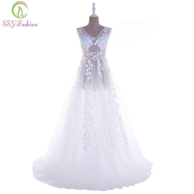 Ssyfashion Лето 2017 г. новые белые Кружево вечернюю платье Sexy v-образным вырезом перспектива Длинные торжественное платье фотографии для беременных женщин