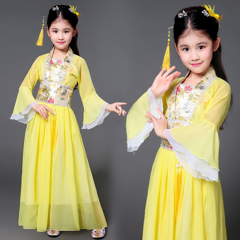 цена 2018 winter children traditional ancient chinese silk clothing for girls hanfu dance costumes folk costume kids tang fairy dress