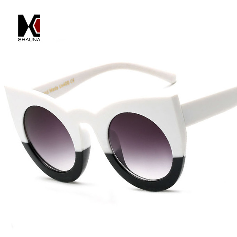 SHAUNA Hippie Mujeres Cateye Gafas de Sol de Moda Gradiente Ronda Bisagra  Metálica de Refuerzo Beat Street Gafas Lente Transparente 277c457fc1