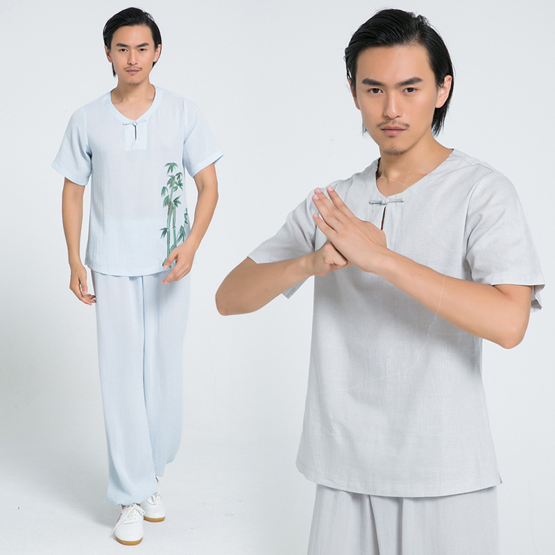 Tai Chi Clothing And Cotton Short Sleeved Summer Men's And Women's Adult Martial Arts Clothing Taijiquan Exercise