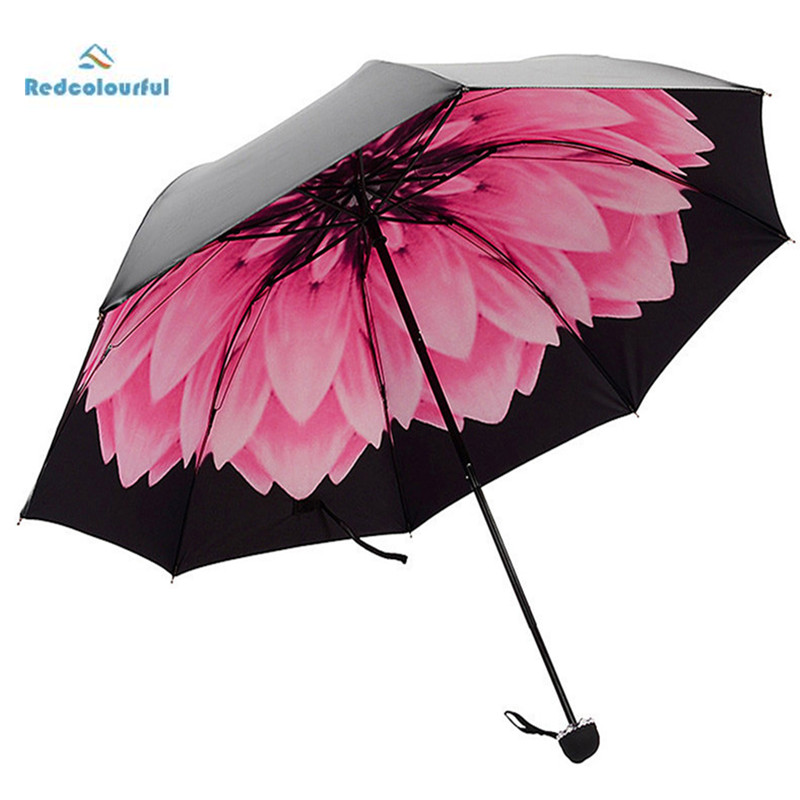 redcolourful women 39 s umbrella pongee anti uv flower print. Black Bedroom Furniture Sets. Home Design Ideas
