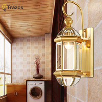 Hot sale vintage copper Wall Lights antique Garden light indoor & outdoor lighting bedroom retro copper wall lamp sconce