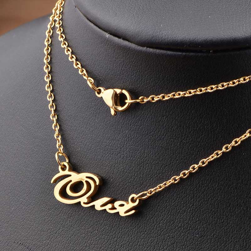 Creative Custom Jewelry Home: Creative DIY Lettering Gold Couple Name Necklace Women