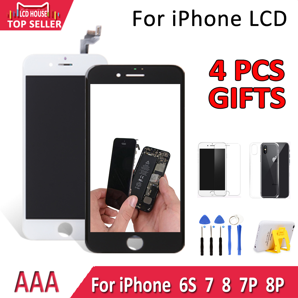 1PCS AAA Display For iPhone 7 8 Plus 6S 7P 8P LCD Touch Screen Assembly Replacement 3D Touch Digitizer Camera Ring Free Shipping