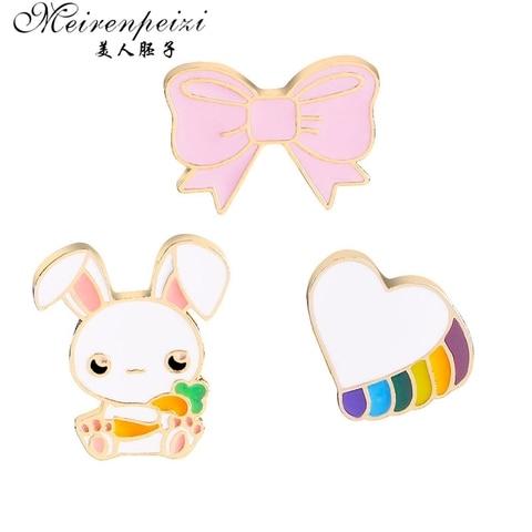 Купить броши в виде мультяшных животных кролик бант сердце эмалированные