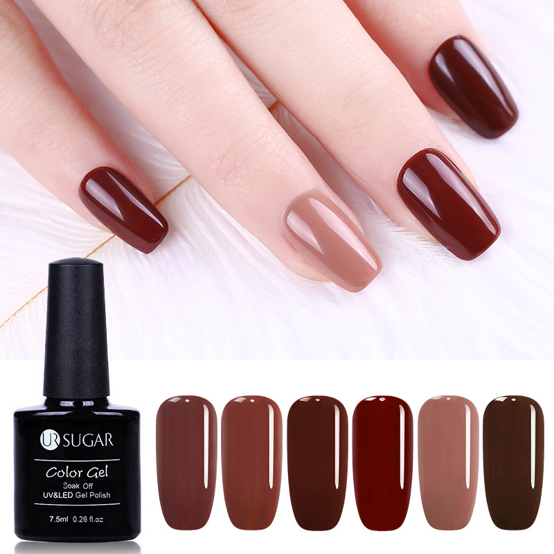 UR SUGAR 7.5ML Caramel Color Soak Off UV Gel Polish Elegant Coffee Brown Series UV Gel Varnish Base Top Coat Nail Art Lacquer