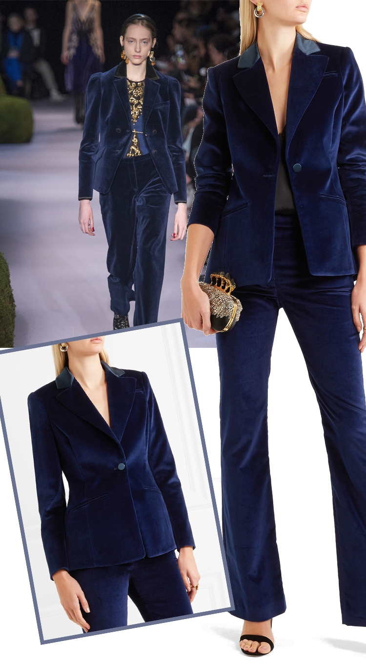 Jacket+Pants Velvet Pant Suits Women 2018 Spring New High Street Shine Velvet Pant Suits