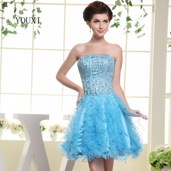 Sexy Strapless Short Prom Dresses 2019 Hot Ice Blue Tulle Crystal Cocktail Party Dress For Women PD109