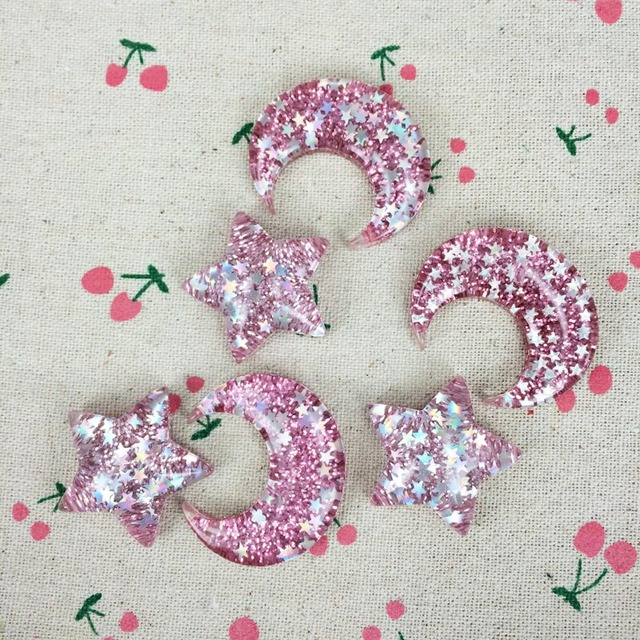 10 pieces resin flatback flat back cabochon kawaii diy resin craft decoration moon star with glitter