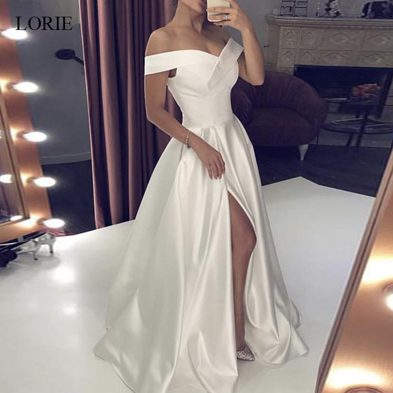 LORIE Wedding Dresses 2019 Satin Off the Shoulder Bridal Gown Right Split Backless vestido de noiva custom made plus size-in Wedding Dresses from Weddings & Events    1