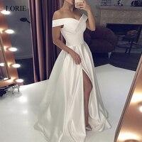 LORIE Wedding Dresses 2019 Satin Off the Shoulder Bridal Gown Right Split Backless vestido de noiva custom made plus size