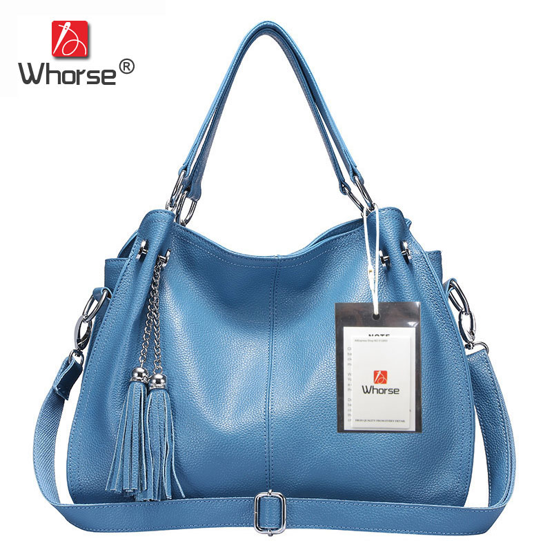[WHORSE] Brand Tassel Casual Tote Bag Larg Genuine Leather Shoulder Messenger Bags Soft Real Cowhide Ladies Handbag W02170 [whorse] brand luxury fashion designer genuine leather bucket bag women real cowhide handbag messenger bags casual tote w07190