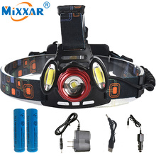 T6+2COB 8000LM Rechargeable LED Headlamp Headlight  Zoom Head Hunt Fish Light Torch +2×18650 Battery +AC Car USB Charger