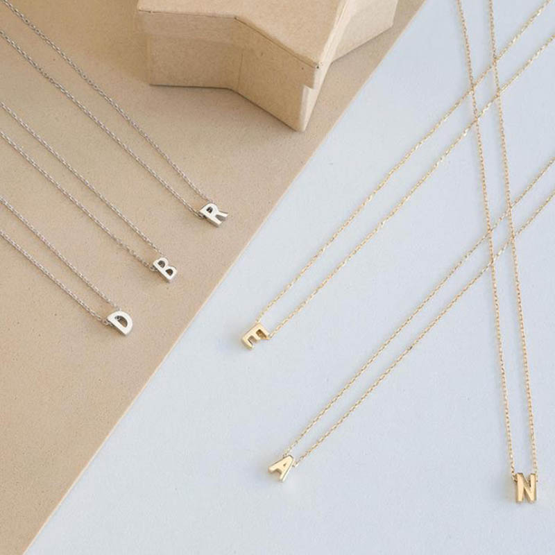 Fashion Tiny Gold Color Dainty Initial Personalized Metal Letter Choker Necklace For Women Silver Color Pendant Collar Jewelry