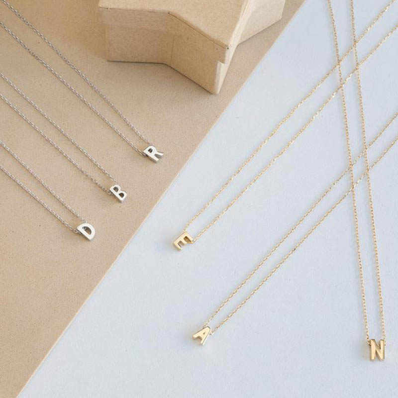 Letter Choker Necklace Fashion Tiny Gold Color Initial Personalized Metal Necklace for Women Silver Color Pendant Collar Jewelry