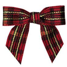 600pcs  Red and Gold Tartan Plaid Pretied Bows - Christmas Ribbon