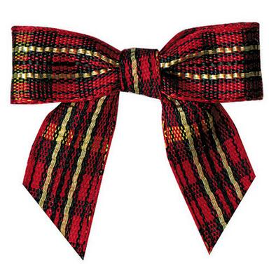 600pcs Red and Gold font b Tartan b font Plaid Pretied Bows Christmas Ribbon