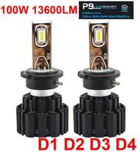 1 комплект D1S D2S D3S D4S 100 W 13600LM P9 светодиодный фар высокого яркий H4 H7 H11 9005/6 HB3/4 9012 HIR2 белый 6 K автомобиля спереди лампы накаливания