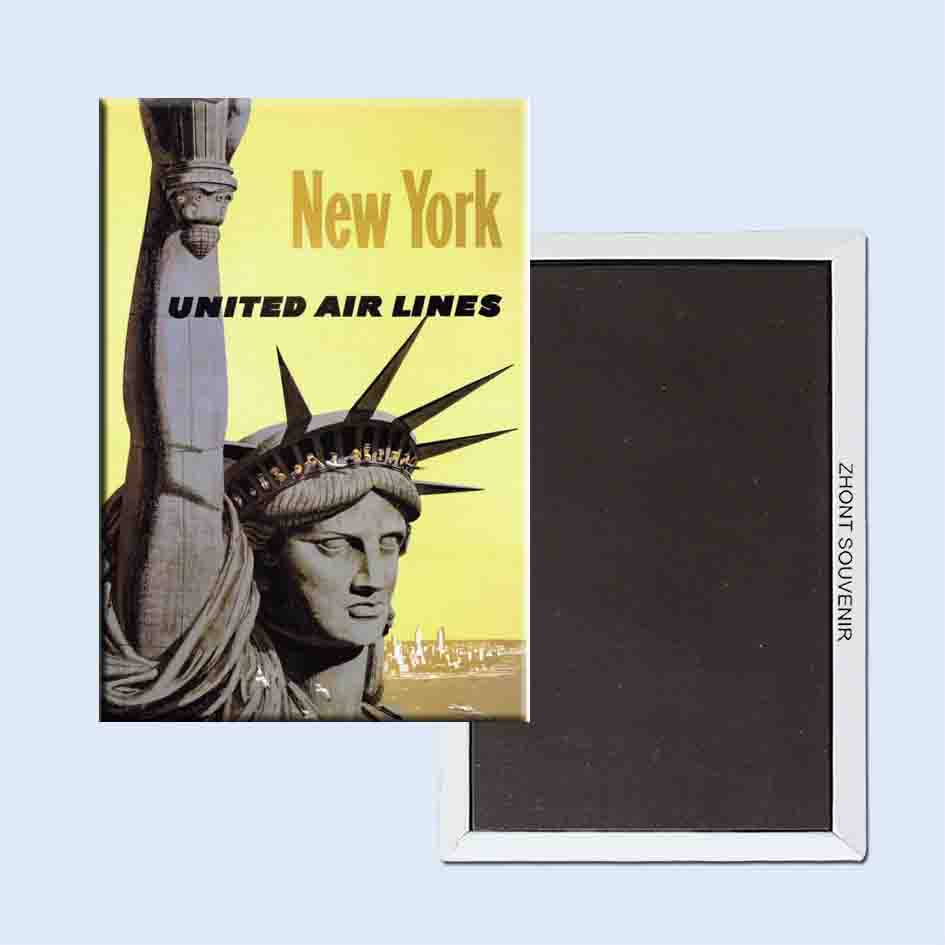 New York united airlines vintage poster 24083 Retro nostalgic fridge magnets image