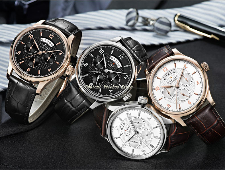 43mm Parnis Date Month Black/White Dial 26 Jewels Miyota 9100 Automatic Men's Watch-in Mechanical Watches from Watches    1