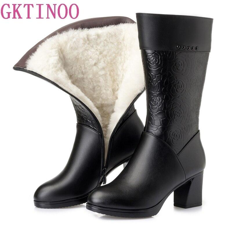 Botas de Inverno Lã De Pêlo GKTINOO Dentro dos Sapatos Quentes Mulheres Sapatos De Salto Alto de Couro Genuíno Sapatos Plataforma Botas De Neve Botas Calçados