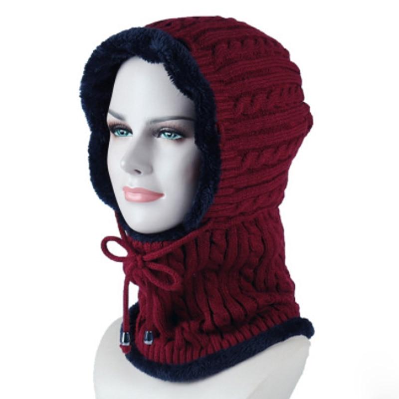 MAERSHEI Winter Plush Hooded Knit Collar Warm Hat Ladies Men's Earmuffs Ski Hooded Scarf Autumn Hot Hat Thick Hat Knit Cap