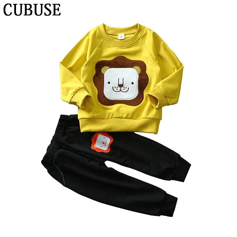 Newborn Baby Boys Girls Boys Clothes Sets Cartoon Lion T-shirt Tops + Denim Pants Cute Outfits Set Clothing Casual Suit