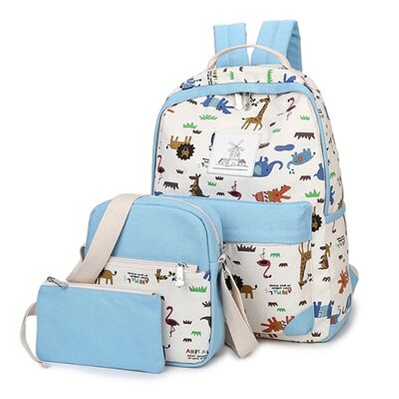 2017 New Affordable 3piece Set Korean Casual Backpack Student School Bag High Quality Canvas Printing Travel