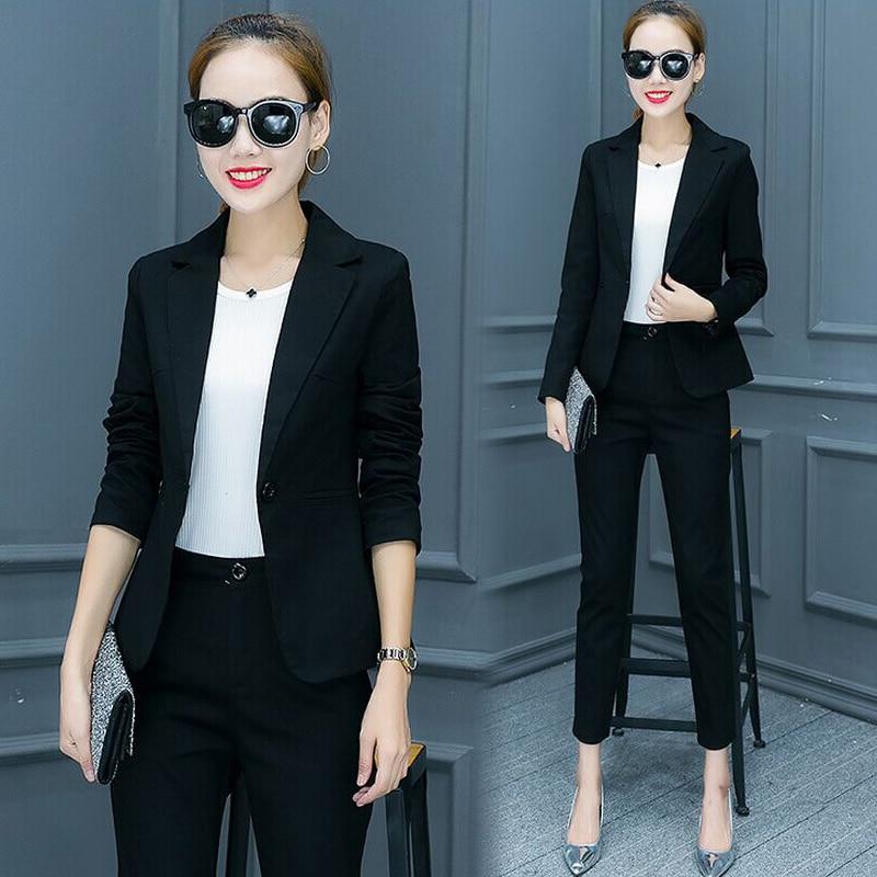 Trajes para mujeres pantalones traje 2018 muescas Oficina uniforme diseños mujer  trajes de chaqueta con pantalones de las señoras de desgaste en Trajes de  ... 8f425f571b8b