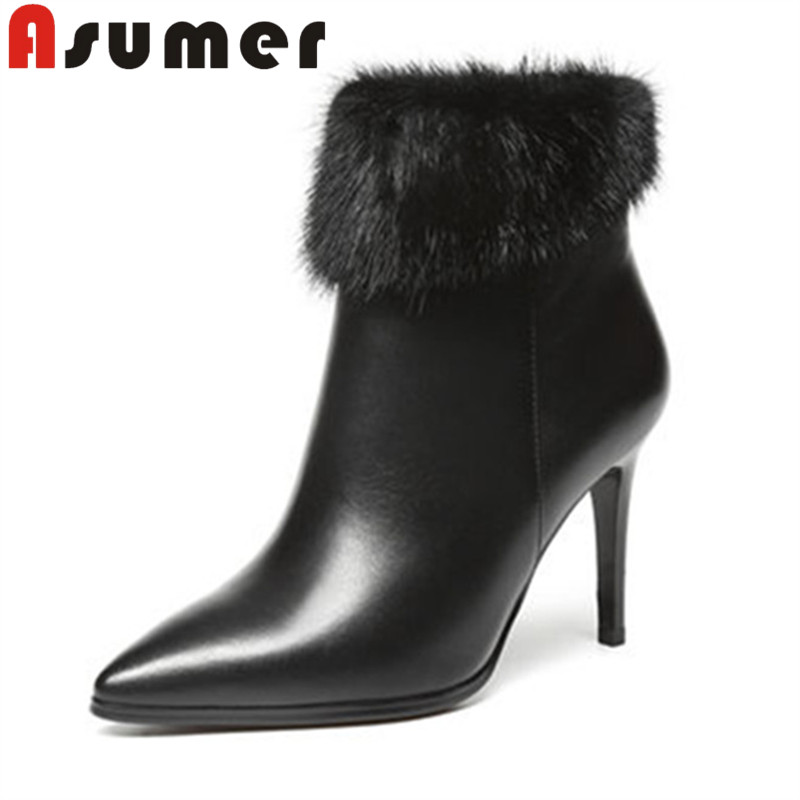 ASUMER 2018 FASHION solid fur ankle boots for women genuine leather pointed toe winter boots thin heels elegant high heels boots