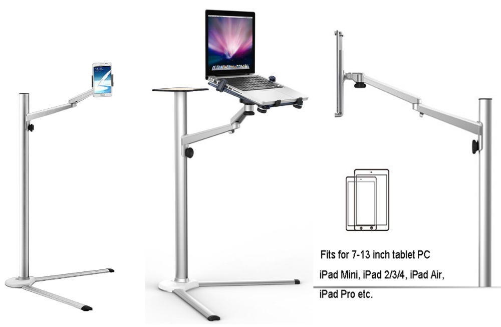 UP 8 Multifunction 3in1 Computer Floor Stand for All Laptop/Tablet PC/Smartphone Holder Height/Angle Adjustable with Mouse Tray-in Monitor Holder from Computer & Office    1