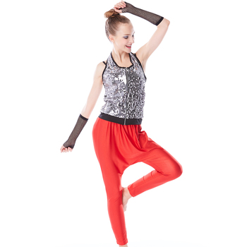 MiDee Hip Hop Costume Dance Clothes Outfits 2 Pieces Halter Neck Costumes Clothes For Girls