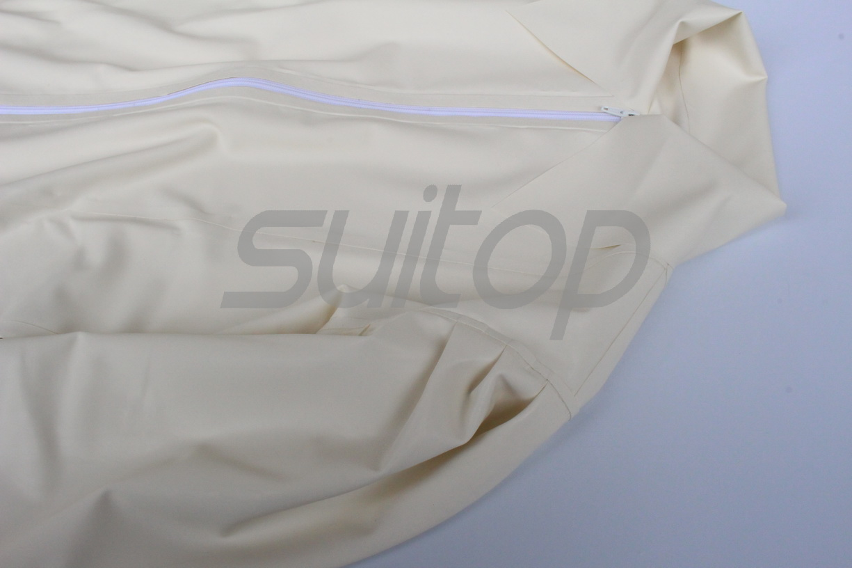 Women 's rubber blouse in white color latex coat for woman
