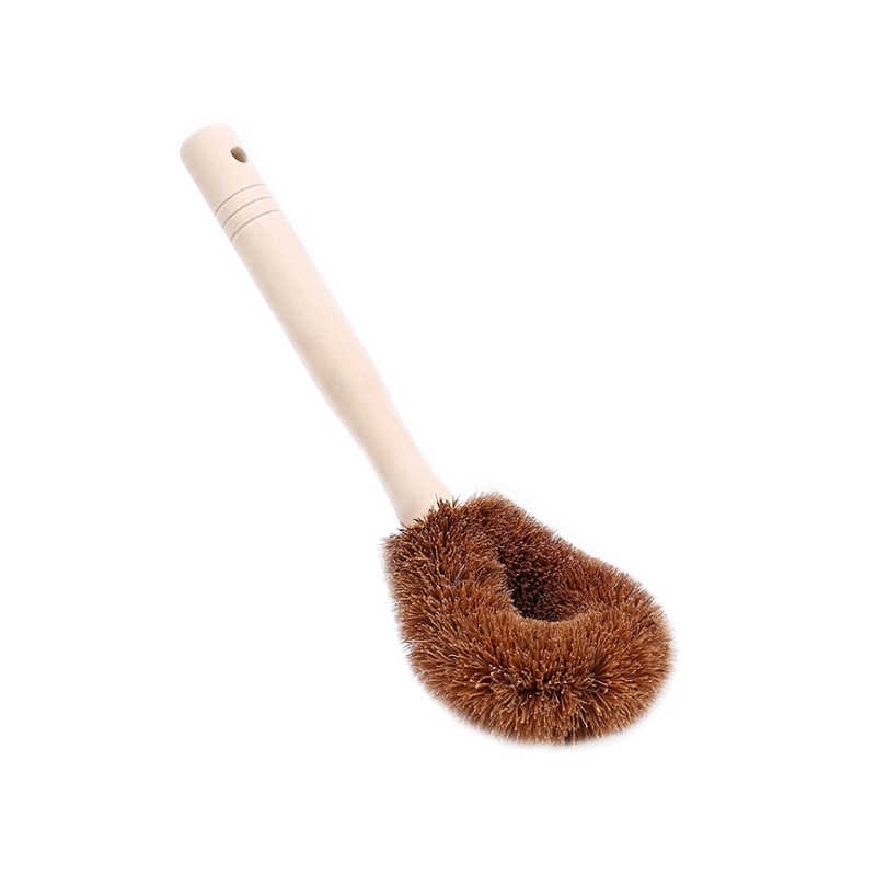 Natural coconut brown non-stick oil long handle pot brush Dish washing oil cleaning brush Can hang type brush