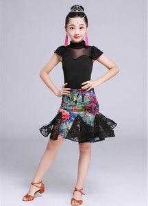 Image 3 - 2 adet Setleri Kız Latin Dans Elbise Kızlar Için Balo Salonu Dans Elbise Kız Rekabet Giyim Çocuklar Çocuk Dans Kostümleri Set