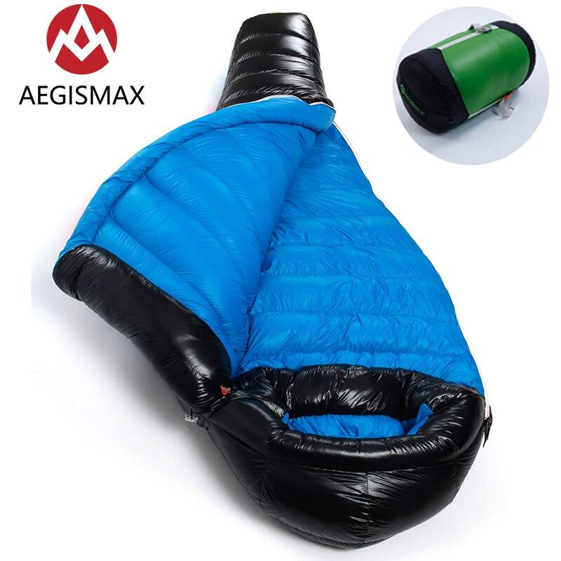 AEGISMAX 800FP G1 G2 duvet d'oie blanche momie sac de couchage de Camping en plein air conception de déflecteur ultra-léger en Nylon avec sac de Compression