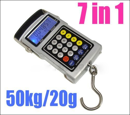 100pcs multifuntion portable electronic digital fishing hook scale 7 in 1 cool tool equipment dhl free shipping