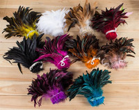 1yards/lot natural Coque feather pure white Rooster Tail Feather Fringe,cheap craft feathers for sale