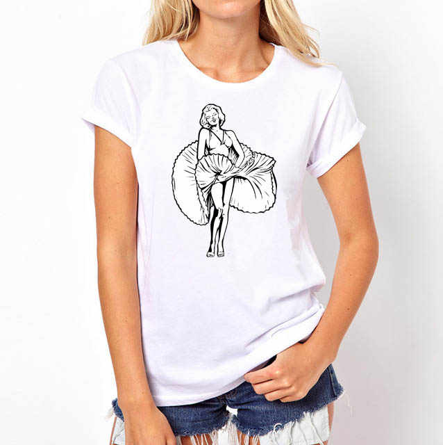 Горячая распродажа Новые Модные женские футболка с короткими рукавами с круглым вырезом принт сексуальный Мэрилин Монро Топ плюс размер женские рубашки
