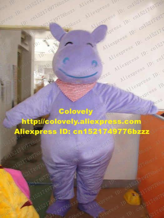 Mewah Ungu Hippo Maskot Kostum Mascotte Kuda Nil Raksasa River Horse Dengan Big Blue Mulut Wajah Bahagia No 2193 Kapal Gratis