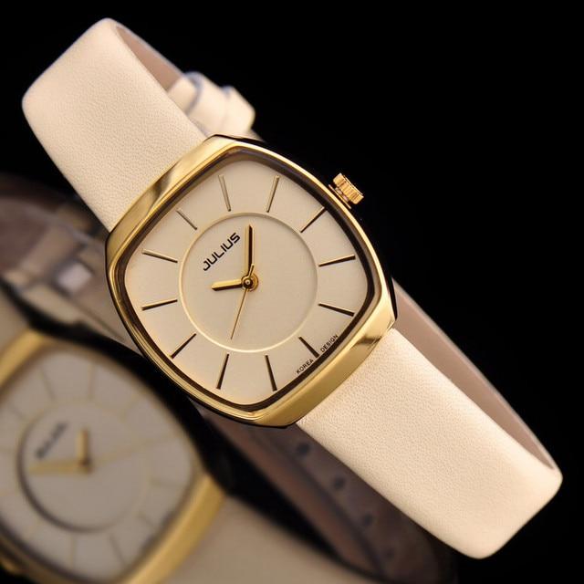 808ed548252 Marca Julius Mulheres Relógios Ultra Finos Analógico Mostrador do relógio  com Pulseira de couro Banda relógio
