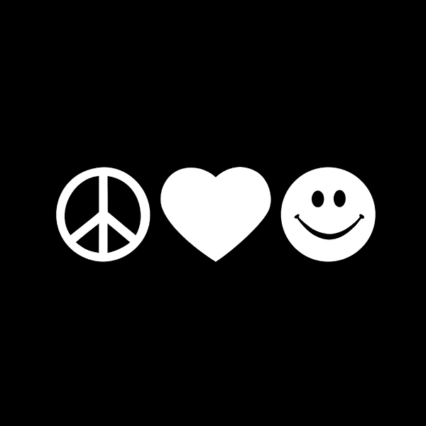 Peace Love Happiness Happy Smile Heart Vinyl Decal Sticker For Car