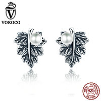VOROCO Vintage 100 Genuine 925 Sterling Silver Leaves Maple Leaf Pearl Stud Earrings For Women Fine
