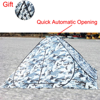 2018 Ice Winter Fishing Tent Automatice Open Large Camouflage Warm Carp Bivouac 3 4 Person Waterproof Windproof Hunting Camping