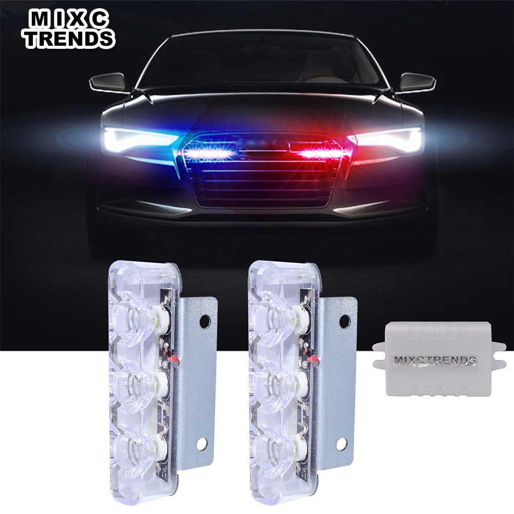2Pcs 3 LED Strobe Light 6W Police Flashing Warning Led Brake Light Lamp DC 12V Car Truck Motorcycle Rear Brake Stop Led Lights