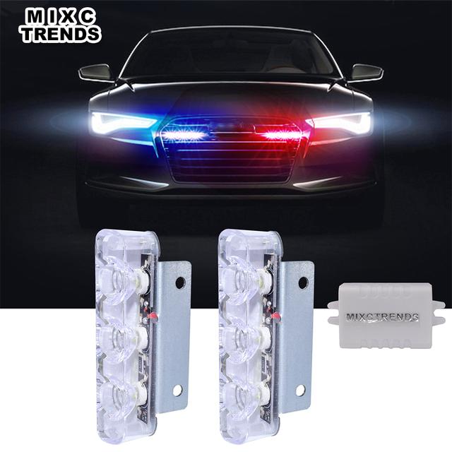 2Pcs 3 LED Strobe Light 6W Police Flashing Warning Led Brake Light Lamp DC 12V Car Truck Motorcycle Rear Brake Stop Led Lights